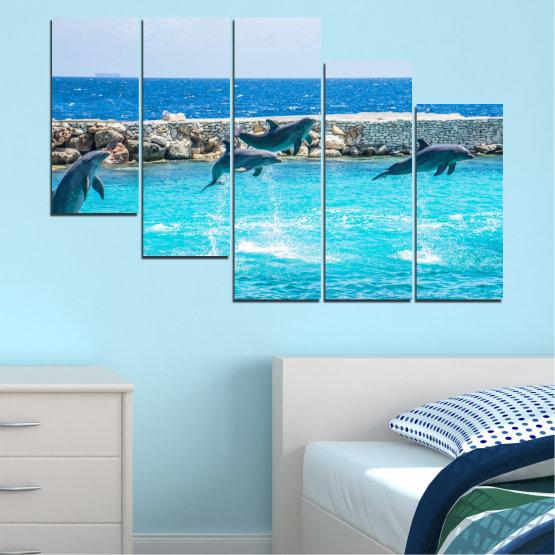 Εκτύπωση σε καμβά και διακοσμητικά πάνελ τοίχου - 5 τεμάχια №0592 » Μπλε, Τουρκουάζ, Γκρί, Σκούρο γκρι » Ζώο, Θάλασσα, Νερό, Δελφίνι, Ψάρι Form #7