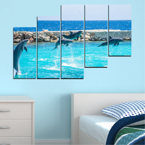 Εκτύπωση σε καμβά και διακοσμητικά πάνελ τοίχου - 5 τεμάχια №0592 » Μπλε, Τουρκουάζ, Γκρί, Σκούρο γκρι » Ζώο, Θάλασσα, Νερό, Δελφίνι, Ψάρι Form #8