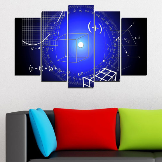 Canvas prints & wall decorative panels - 5 pieces №0593 » Blue, Black, White, Dark grey » Abstraction, Mathematics, Cube Form #1