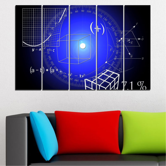 Canvas prints & wall decorative panels - 5 pieces №0593 » Blue, Black, White, Dark grey » Abstraction, Mathematics, Cube Form #2