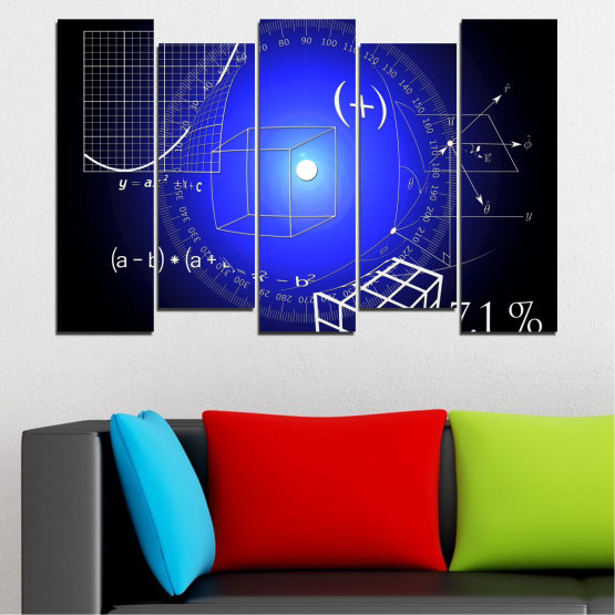 Canvas prints & wall decorative panels - 5 pieces №0593 » Blue, Black, White, Dark grey » Abstraction, Mathematics, Cube Form #3