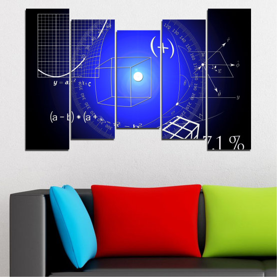 Canvas prints & wall decorative panels - 5 pieces №0593 » Blue, Black, White, Dark grey » Abstraction, Mathematics, Cube Form #4