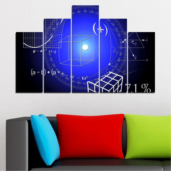 Canvas prints & wall decorative panels - 5 pieces №0593 » Blue, Black, White, Dark grey » Abstraction, Mathematics, Cube Form #5