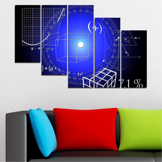 Canvas prints & wall decorative panels - 5 pieces №0593 » Blue, Black, White, Dark grey » Abstraction, Mathematics, Cube Form #7