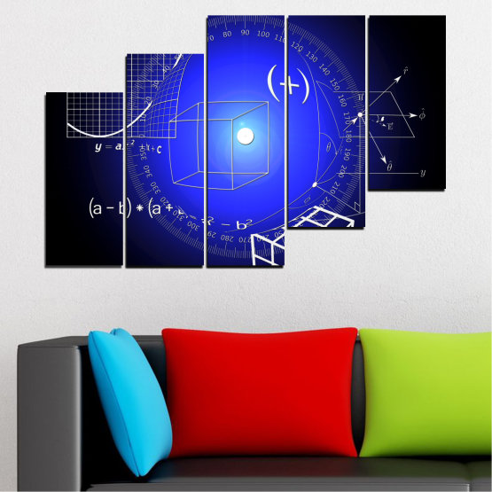 Canvas prints & wall decorative panels - 5 pieces №0593 » Blue, Black, White, Dark grey » Abstraction, Mathematics, Cube Form #8