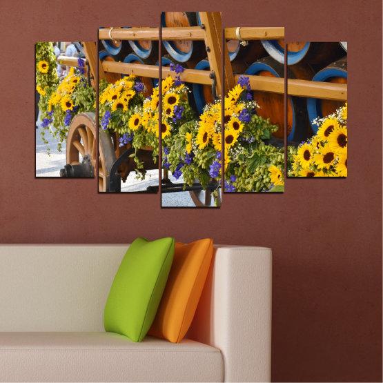 Декоративни панели и картини от канава - от 5 части №0595 » Оранжев, Кафяв, Черен, Тъмно сив » Цветя, Слънчоглед, Каруца Form #1