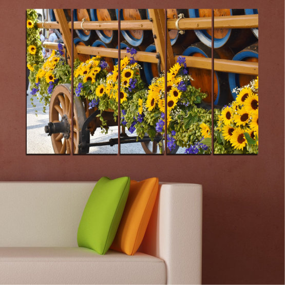 Canvas prints & wall decorative panels - 5 pieces №0595 » Orange, Brown, Black, Dark grey » Flowers, Sunflower, Wagon Form #2