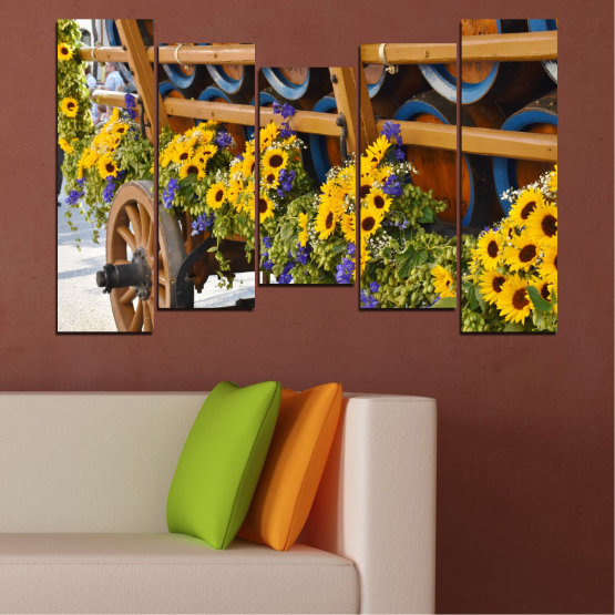 Canvas prints & wall decorative panels - 5 pieces №0595 » Orange, Brown, Black, Dark grey » Flowers, Sunflower, Wagon Form #4