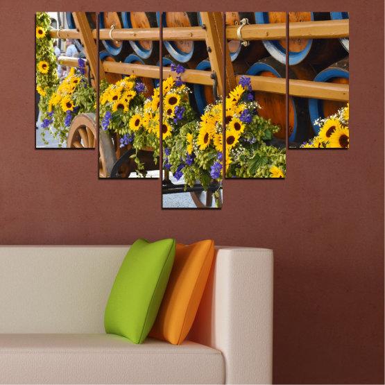 Canvas prints & wall decorative panels - 5 pieces №0595 » Orange, Brown, Black, Dark grey » Flowers, Sunflower, Wagon Form #6