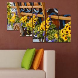Декоративни панели и картини от канава - от 5 части №0595 Цветя 7-ма Форма