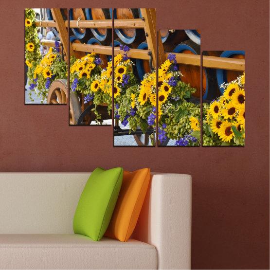 Canvas prints & wall decorative panels - 5 pieces №0595 » Orange, Brown, Black, Dark grey » Flowers, Sunflower, Wagon Form #7