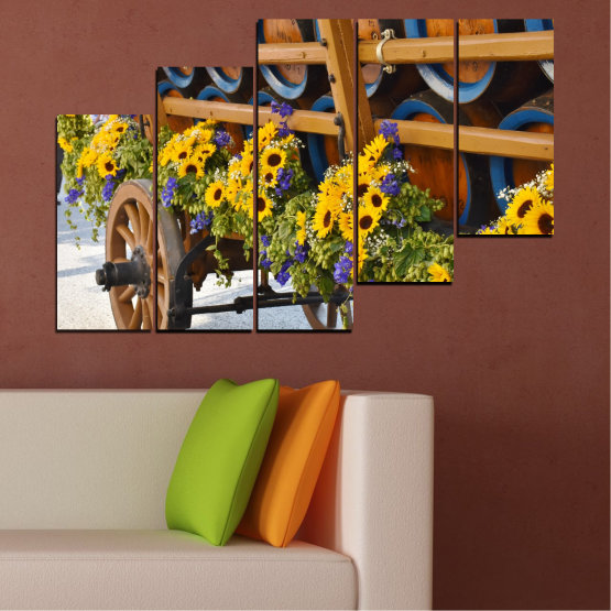 Canvas prints & wall decorative panels - 5 pieces №0595 » Orange, Brown, Black, Dark grey » Flowers, Sunflower, Wagon Form #8