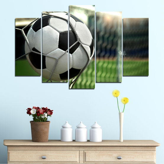 Canvas prints & wall decorative panels - 5 pieces №0596 » Green, Black, Gray, White, Dark grey » Soccer, Sport, Ball Form #1