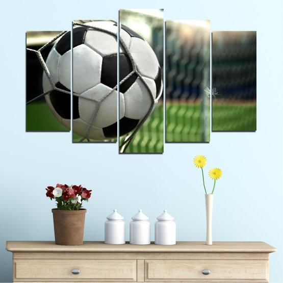 Декоративни панели и картини от канава - от 5 части №0596 » Зелен, Черен, Сив, Бял, Тъмно сив » Футбол, Спорт, Топка Form #1
