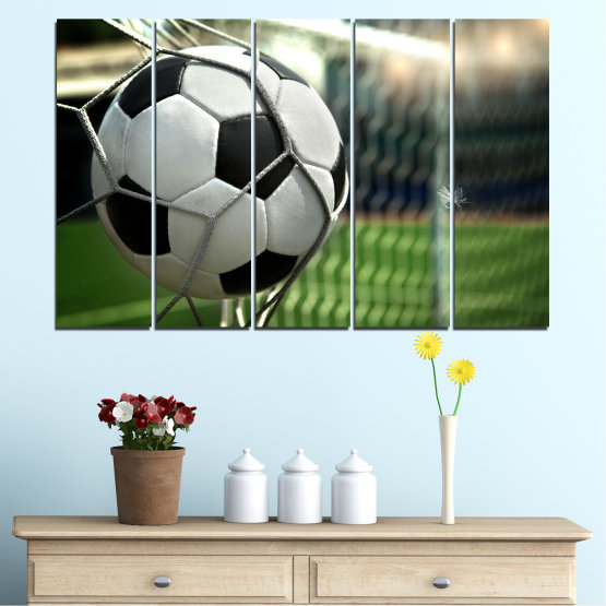 Декоративни панели и картини от канава - от 5 части №0596 » Зелен, Черен, Сив, Бял, Тъмно сив » Футбол, Спорт, Топка Form #2
