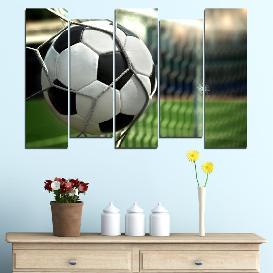 Canvas prints & wall decorative panels - 5 pieces №0596 » Green, Black, Gray, White, Dark grey » Soccer, Sport, Ball Form #3