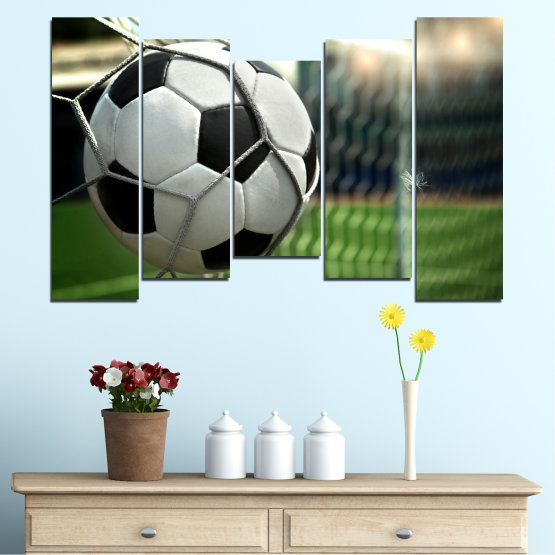 Canvas prints & wall decorative panels - 5 pieces №0596 » Green, Black, Gray, White, Dark grey » Soccer, Sport, Ball Form #4