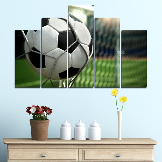 Canvas prints & wall decorative panels - 5 pieces №0596 » Green, Black, Gray, White, Dark grey » Soccer, Sport, Ball Form #5