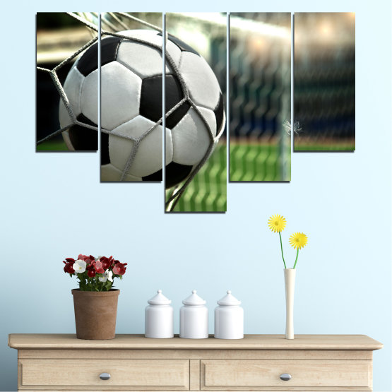 Canvas prints & wall decorative panels - 5 pieces №0596 » Green, Black, Gray, White, Dark grey » Soccer, Sport, Ball Form #6