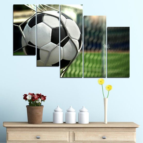 Canvas prints & wall decorative panels - 5 pieces №0596 » Green, Black, Gray, White, Dark grey » Soccer, Sport, Ball Form #7