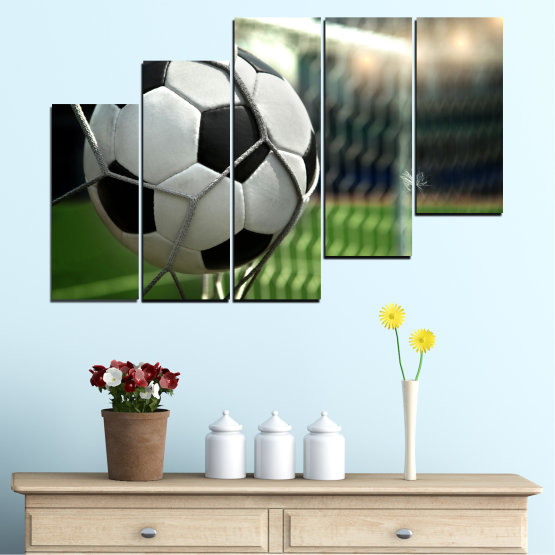 Canvas prints & wall decorative panels - 5 pieces №0596 » Green, Black, Gray, White, Dark grey » Soccer, Sport, Ball Form #8