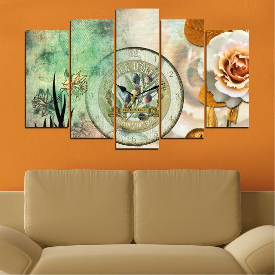 Декоративни панели и картини от канава - от 5 части №0597 » Кафяв, Сив, Бежов, Тъмно сив » Цветя, Колаж, Часовник Form #1