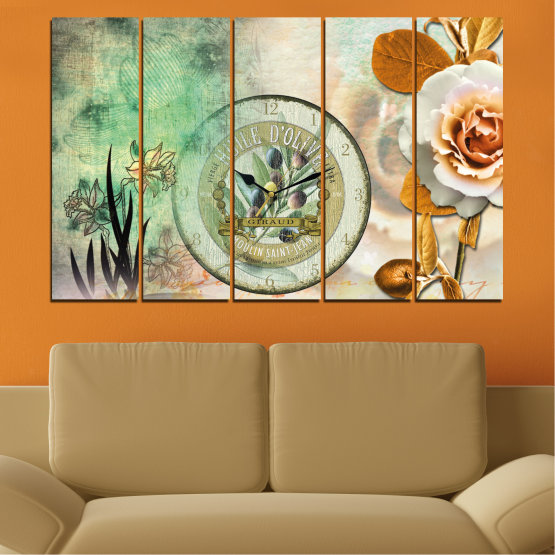 Canvas prints & wall decorative panels - 5 pieces №0597 » Brown, Gray, Beige, Dark grey » Flowers, Collage, Watch Form #2