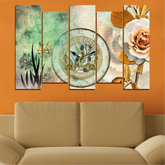 Декоративни панели и картини от канава - от 5 части №0597 » Кафяв, Сив, Бежов, Тъмно сив » Цветя, Колаж, Часовник Form #3
