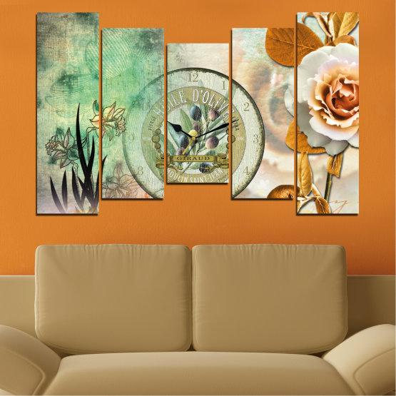 Декоративни панели и картини от канава - от 5 части №0597 » Кафяв, Сив, Бежов, Тъмно сив » Цветя, Колаж, Часовник Form #4