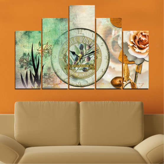 Canvas prints & wall decorative panels - 5 pieces №0597 » Brown, Gray, Beige, Dark grey » Flowers, Collage, Watch Form #5