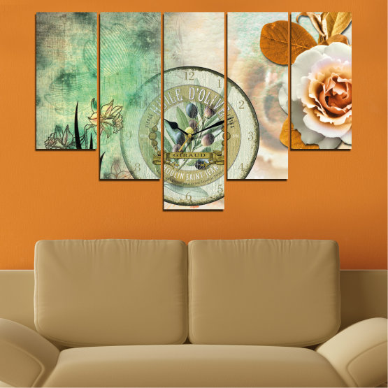 Canvas prints & wall decorative panels - 5 pieces №0597 » Brown, Gray, Beige, Dark grey » Flowers, Collage, Watch Form #6