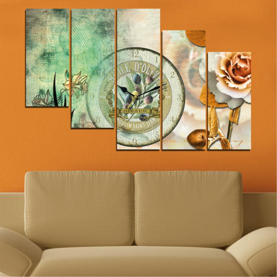 Декоративни панели и картини от канава - от 5 части №0597 » Кафяв, Сив, Бежов, Тъмно сив » Цветя, Колаж, Часовник Form #7
