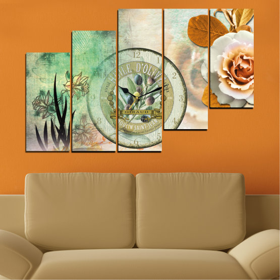 Canvas prints & wall decorative panels - 5 pieces №0597 » Brown, Gray, Beige, Dark grey » Flowers, Collage, Watch Form #8