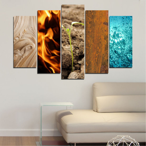 Canvas prints & wall decorative panels - 5 pieces №0598 » Brown, Black, Gray, Beige » Water, Fire, Element Form #1