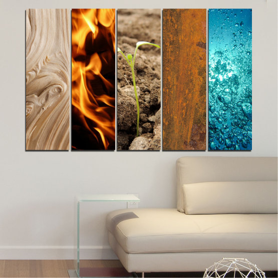 Canvas prints & wall decorative panels - 5 pieces №0598 » Brown, Black, Gray, Beige » Water, Fire, Element Form #2