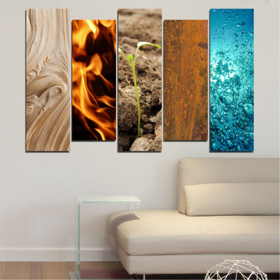 Canvas prints & wall decorative panels - 5 pieces №0598 » Brown, Black, Gray, Beige » Water, Fire, Element Form #3