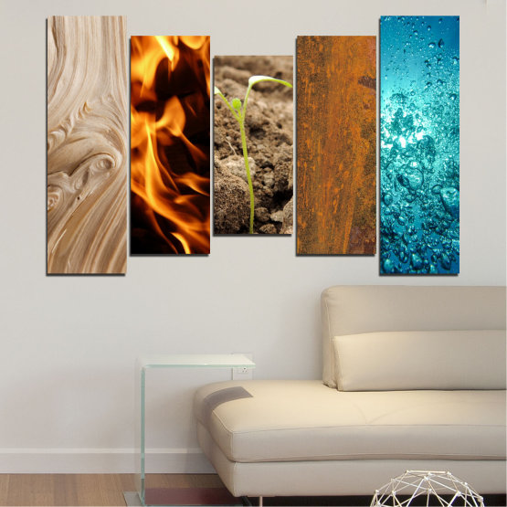 Canvas prints & wall decorative panels - 5 pieces №0598 » Brown, Black, Gray, Beige » Water, Fire, Element Form #4