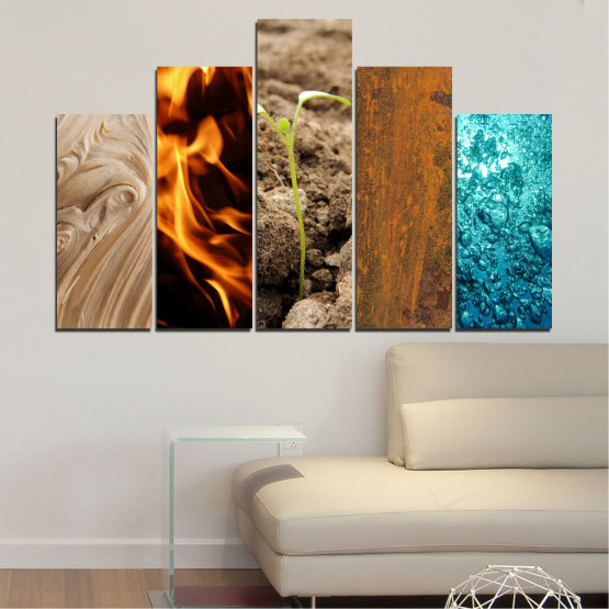 Canvas prints & wall decorative panels - 5 pieces №0598 » Brown, Black, Gray, Beige » Water, Fire, Element Form #5