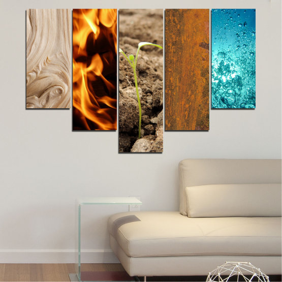 Canvas prints & wall decorative panels - 5 pieces №0598 » Brown, Black, Gray, Beige » Water, Fire, Element Form #6