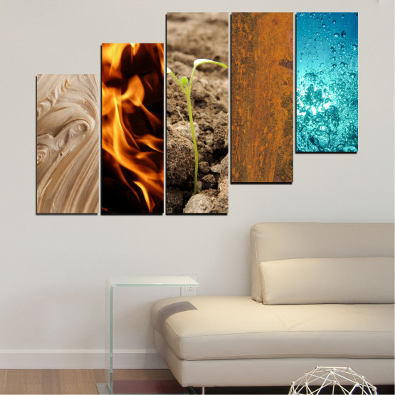 Canvas prints & wall decorative panels - 5 pieces №0598 » Brown, Black, Gray, Beige » Water, Fire, Element Form #8
