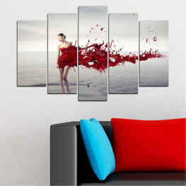 Woman, Collage, Fashion » Red, Gray, White, Dark grey