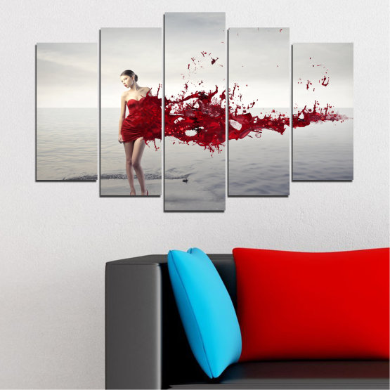 Canvas prints & wall decorative panels - 5 pieces №0599 » Red, Gray, White, Dark grey » Woman, Collage, Fashion Form #1