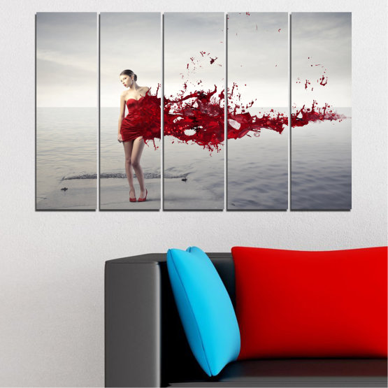 Canvas prints & wall decorative panels - 5 pieces №0599 » Red, Gray, White, Dark grey » Woman, Collage, Fashion Form #2