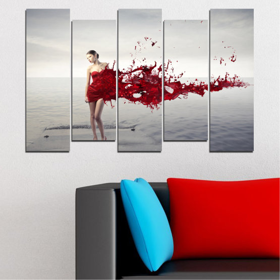 Canvas prints & wall decorative panels - 5 pieces №0599 » Red, Gray, White, Dark grey » Woman, Collage, Fashion Form #3