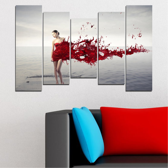 Canvas prints & wall decorative panels - 5 pieces №0599 » Red, Gray, White, Dark grey » Woman, Collage, Fashion Form #4