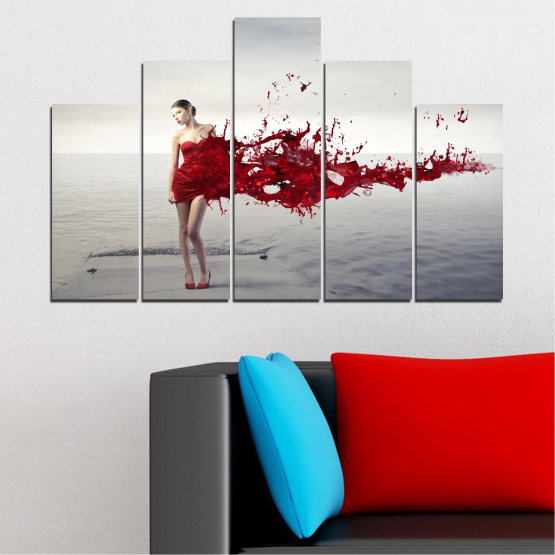 Canvas prints & wall decorative panels - 5 pieces №0599 » Red, Gray, White, Dark grey » Woman, Collage, Fashion Form #5
