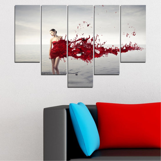Canvas prints & wall decorative panels - 5 pieces №0599 » Red, Gray, White, Dark grey » Woman, Collage, Fashion Form #6