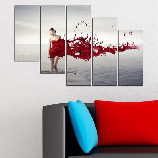 Canvas prints & wall decorative panels - 5 pieces №0599 » Red, Gray, White, Dark grey » Woman, Collage, Fashion Form #7
