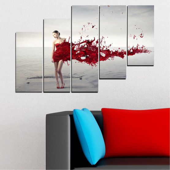 Canvas prints & wall decorative panels - 5 pieces №0599 » Red, Gray, White, Dark grey » Woman, Collage, Fashion Form #8
