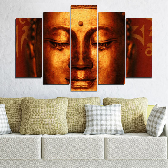 Canvas prints & wall decorative panels - 5 pieces №0006 » Red, Brown, Black » Portrait, Religion, Аsia, Buddha Form #1